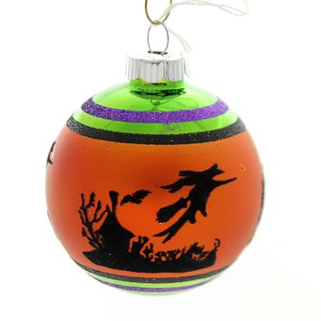 Shiny Brite HALLOWEEN SIGNATURE FLOCKED.. Glass Ornament Ball 4026976S E