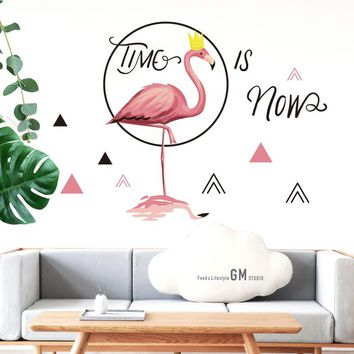 "Pink Flamingo ""Time Is Now"" Wall Stickers For Home Decor"