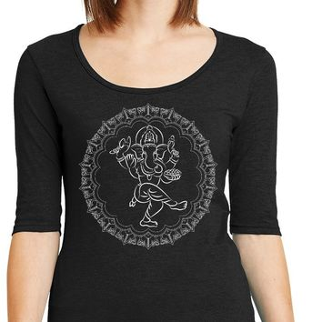 Womens Yoga T-shirt Circle Ganesha White Print 1/2 Sleeve Scoopneck