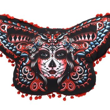 LIQUORBRAND  Butterfly Day Of The Dead Pillow