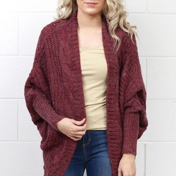 Fireside Wishes Chunky Knit Cardigan {Marsala}