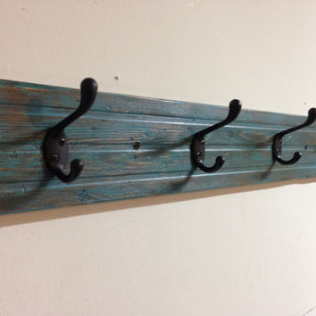 Rustic shabby chic wood coat hook rack - reclaimed wood, vintage, distressed teal blue wall mount coat rack