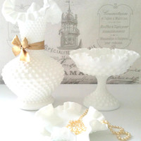 Fenton Milk Glass White Hobnail Crimped Vase, Pedestal Stand and Dish Wedding Centerpiece Instant Collection Shabby Chic - Ca. 1940 - 1969