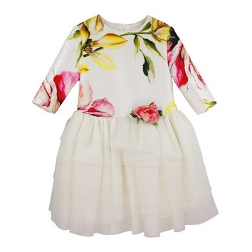 Barcarola Girls' Floral Occasion Dress