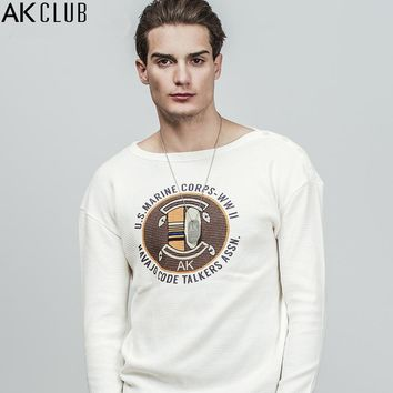Sweatshirt Boat Neck Raglan Sleeve Pullover Cross Rib Cotton Sweatshirt Printing Casual Men Sweatshirt