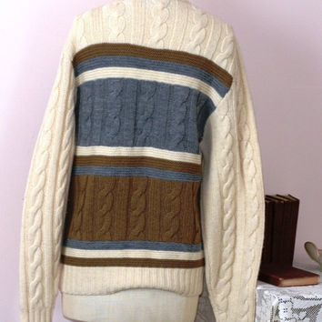 Vintage Pendleton Wool Sweater / Wool Cable Knit Sweater Ivory Brown and Blue