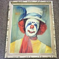 DCCKWA2 Vintage Original Oil Painting on Canvas Clown b fraelich