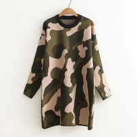 Olive Green Drop Shoulder Camo Long Sweater