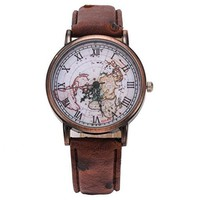 Womens Map Leather Watch