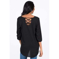 AllisonAvery Chiffon Crossback Blouse - BLACK - 3X