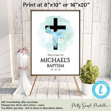 Baptism Welcome Sign, Christening Poster, Baptism Poster, Baptism Boy, Baptism Template, Editable, Template, Digital Download, Templett BAP1