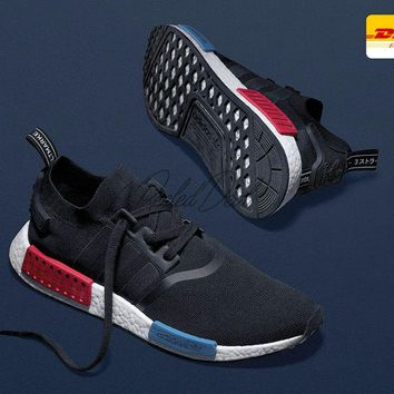 Original Black Adidas Nmd R1 Primeknit Men Sneakers Pk Boost Running Rising Star