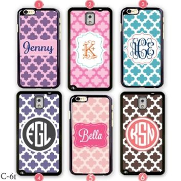 Custom Monogram iPhone 6 case Personalized Samsung galaxy S5 cover Note 3 5C