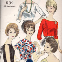 50s Fashion Vintage Women's Blouse Scoop Boat Neck Top Dress Shirt Vogue 5621 Sewing Pattern Sleeveless Dart Fitted Low Back Bust 34