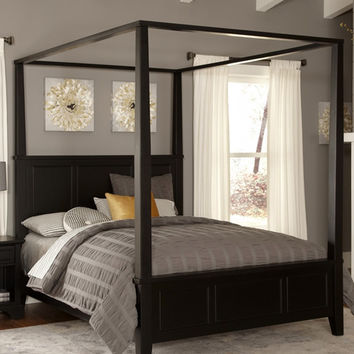 King Size Modern Classic Wood Canopy Bed In Black Finish