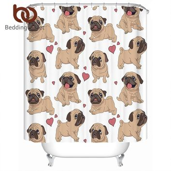 BeddingOutlet Hippie Pug Shower Curtain Animal Cartoon Bulldog Polyester Waterproof Kids Bathroom Curtain With Hooks Home Decor