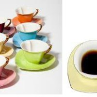 Heart Cup and Saucer - Set of 6 Multi Colored: The Spoon Sisters