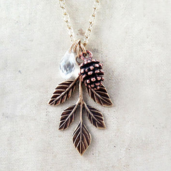 Pinecone Necklace Leaf Necklace Winter Crystal Jewelry Holiday Gift Nature Wedding Rustic Bride - Pine Cone Charm