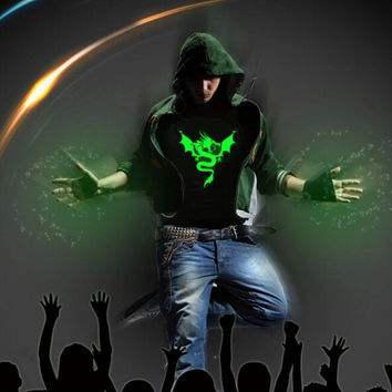 Fashion Men's Luminous Long Seleeve Dragon Light Up T-Shirt