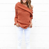 off shoulder Women Sweater poncho knitted sweater