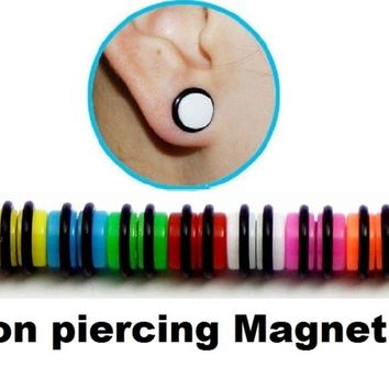 MAGNETIC NON PIERCING FAKE CHEATER PLUG EARRING 8mm
