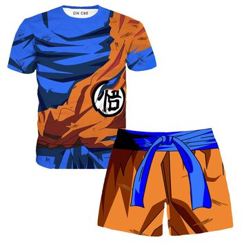Goku Battle Damage Armor T-Shirt And Shorts Rave Outfit