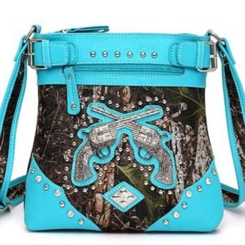 Western Cowgirl Guns Pistol Camo Hipster Messenger Bag Cross Body Purse (Turquoise)