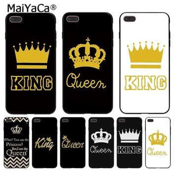 MaiYaCa Queen crown king PRINCESS classic print Phone Accessories Case for Apple iPhone 8 7 6 6S Plus X 5 5S SE 5C Cellphones