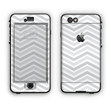 The Subtle Wide White & Gray Chevron Apple iPhone 6 Plus LifeProof Nuud Case Skin Set