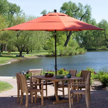 Outdoor Patio 11-Ft Market Umbrella with Push Button Tilt with Brick Red Orange Shade