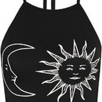 Womens Sun Moon Print Halter Neck Sleeveless Tied Crop Vest T-Shirt Ladies Top