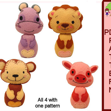 Doll PDF Pattern Animal Babies Heartfelt