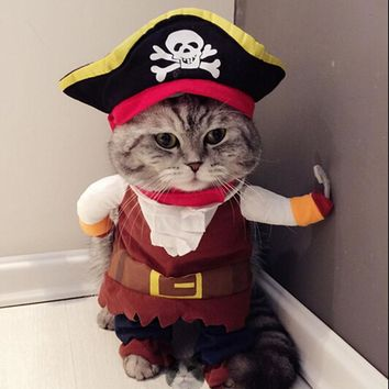 Funny Cat Clothes Pirate Suit