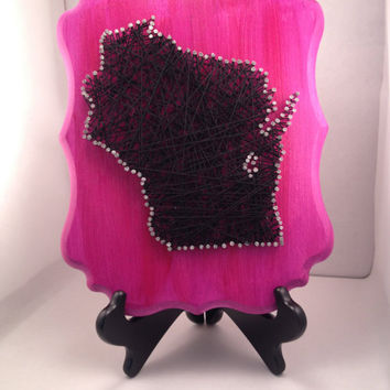 Wisconsin String Wall Art in Pink with Black Floss, Nail Art, String Art