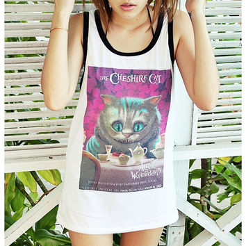 The Cheshire Cat Alice in Wonderland Tank Top Unisex Men Women Shirt Size S, M, L