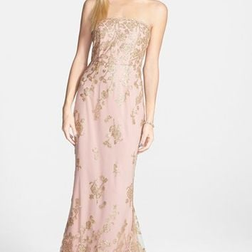 Junior Women's a. drea 'Autumn' Strapless Gown