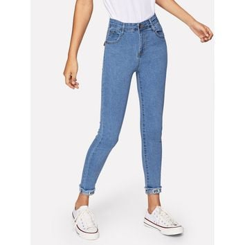 Solid Roll-Up Skinny Jeans