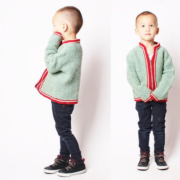 40s Sage Green and Maroon Children's Vintage Hand Knit Cardigan / Children's Vintage / Kids Vintage / Vintage Sweater / 2414