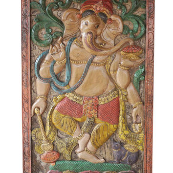 Vintage Hand Carved Ganesha Barn Door God of Prosperity Wall decor Sculpture Electic Decor