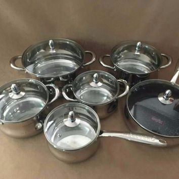 COOKING POTS and PANS set luxury 12pcs INOX  POTS COOKWARE SET pan and pot CASSEROLE with gift box