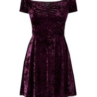 Purple Velvet Sweetheart Bardot Neck Skater Dress