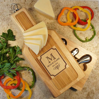 "Design's Wine and Cheese Board and Tool Set with Monogram Design Options & Font Selection (Each - 13"" x 6"")"