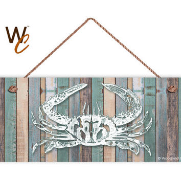 "Crab Sign, Beach Weathered Wood, Weatherproof, 6""x14"", Rustic Signs, Housewarming Gift, Under The Sea Sign, Made to Order"