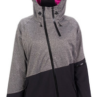 Powder Room Womens Nova Jacket, Grey Melange/Black-Snowboard Apparel-Snowboarding-Winter-GEAR - Sport Chalet