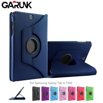 """Case for SAMSUNG Tab A T550 9.7"""", GARUNK Slim Flip Leather Folio 360 Rotating Degree Smart Stand Cover for GALAXY SM-T555 T559"""
