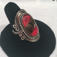 Exotic unusual red glass inlay Vintage silver hippie boho gypsy Ring