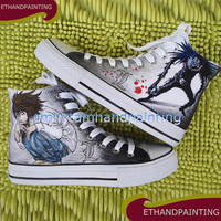 Death Note Canvas Shoes not Converse, Ryuuzaki Sneakers, Ryuuku Shoes, Hand Painted Canvas Shoes not Converse Sneakers