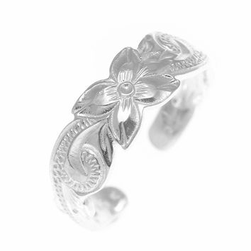6MM STERLING SILVER 925 HAWAIIAN PLUMERIA FLOWER SCROLL TOE RING