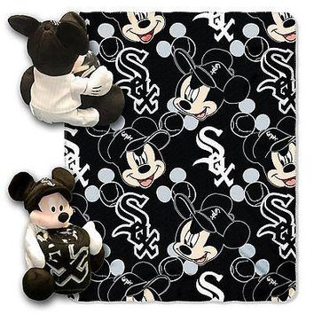 Chicago White Sox MLB Mickey Mouse Throw and Hugger Pillow Set
