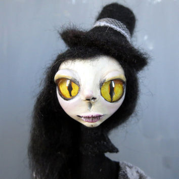 One of a kind art doll Girl art doll Black Dark Edwardian Witch doll Goth girl figurine Creepy Clay doll